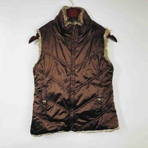 Gap Womens Reversible Vest Brown Beige Faux Fur xl